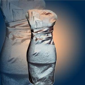 Neblon Pewtee Pleated Strapless Formal Prom Dress